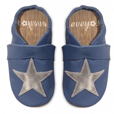Krabbelschuhe blau mit Silber Stern