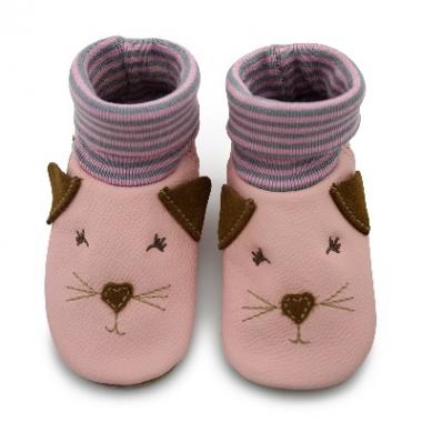 Krabbelschuhe mit Bündchen Katze rosa
