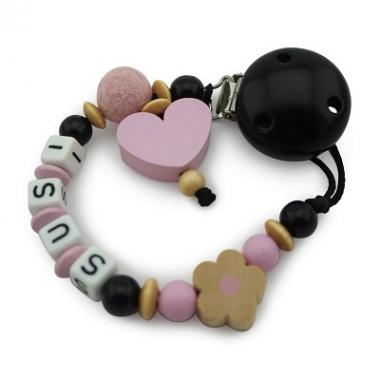 Schnullerkette Perlenkette mit Herz rosa und Schwarz