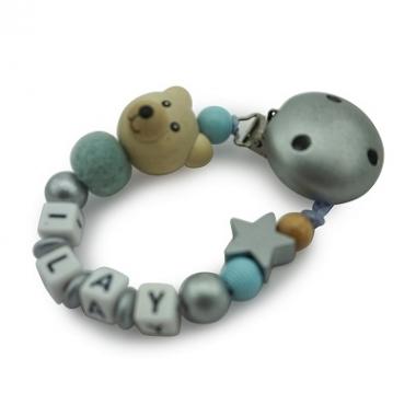 Schnullerkette Perlenkette Bär hellblau