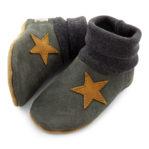 Krabbelschuhe mit Bündchen Nubukleder grau Stern