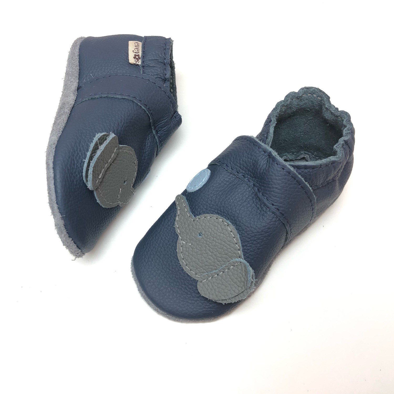 new products f8a99 47d71 Krabbelschuhe 3D Elefant dunkel Blau