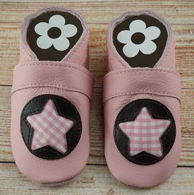 Babyschuhe Vichy Stern rosa
