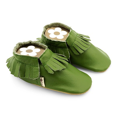 Krabbelslchuhe Moccacins grün