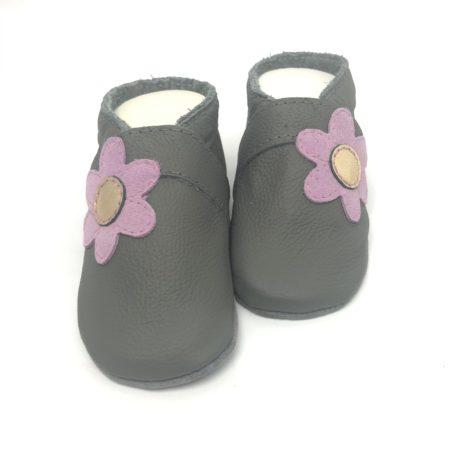 Krabbelschuhe Grau Blume seilt Flieder
