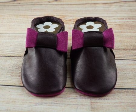 Moccasins Schleife lila/pink