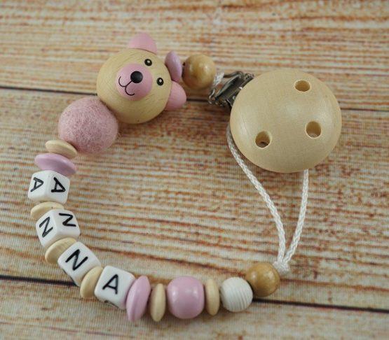 Schnullerkette Perlen Bär rosa