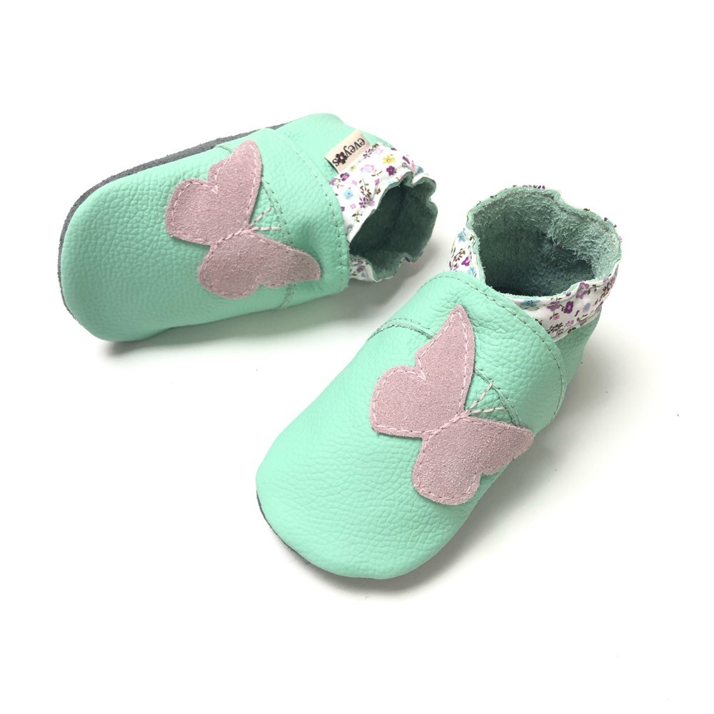 Krabbelschuhe Mint Schmetterling Rosa 1