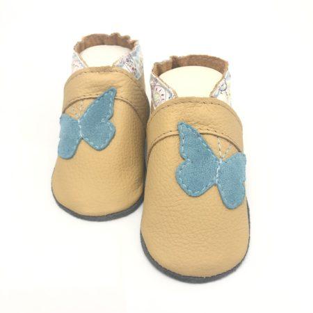 Krabbelschuhe Schmetterling nude/hellblau Paisley