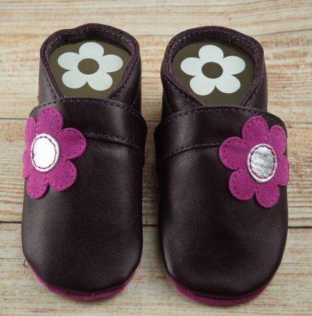 Krabbelschuhe Blume seitl lila pink