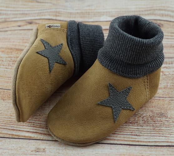 Babyschuhe Nubukleder Strickbündchen