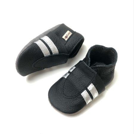 Krabbelschuhe Sneaker Basic Schwarz-Silber