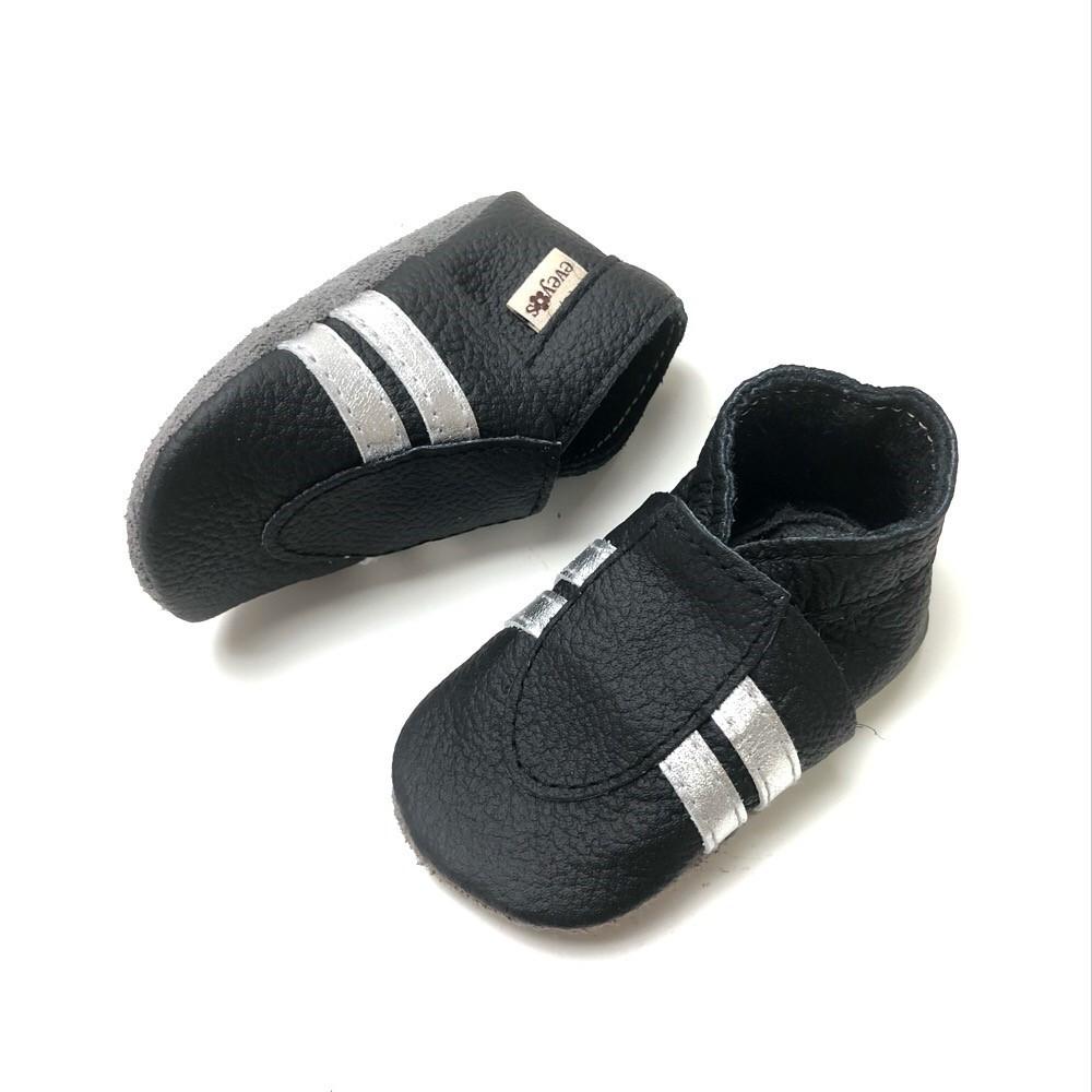 big sale 0797c 2fce6 Krabbelschuhe Sneaker Basic Schwarz-Silber