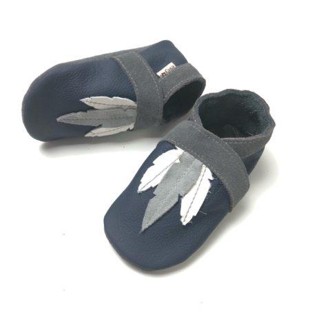 Lederpuschen Federn dunkel Blau/hell Grau
