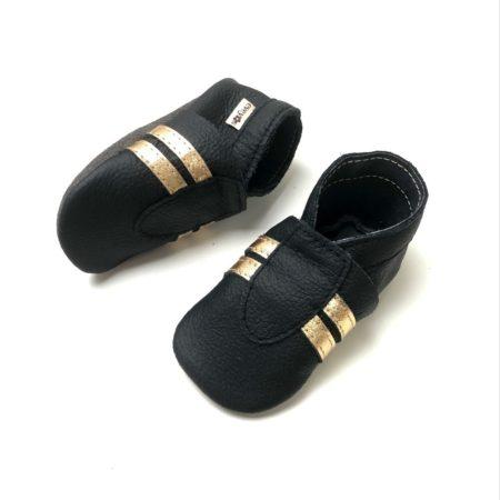 Krabbelschuhe Sneaker Basic Schwarz-Gold