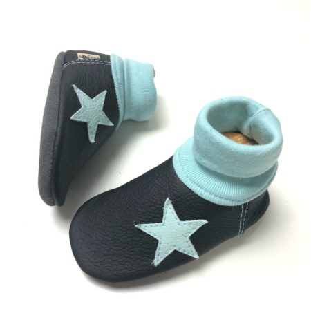 Lederstrumpf Schwarz/ Babyblau Stern