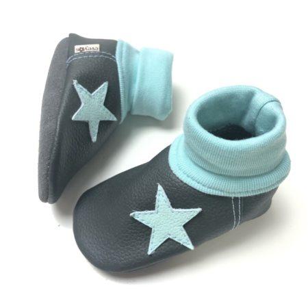 Lederstrumpf Anthrazit/ Babyblau Stern