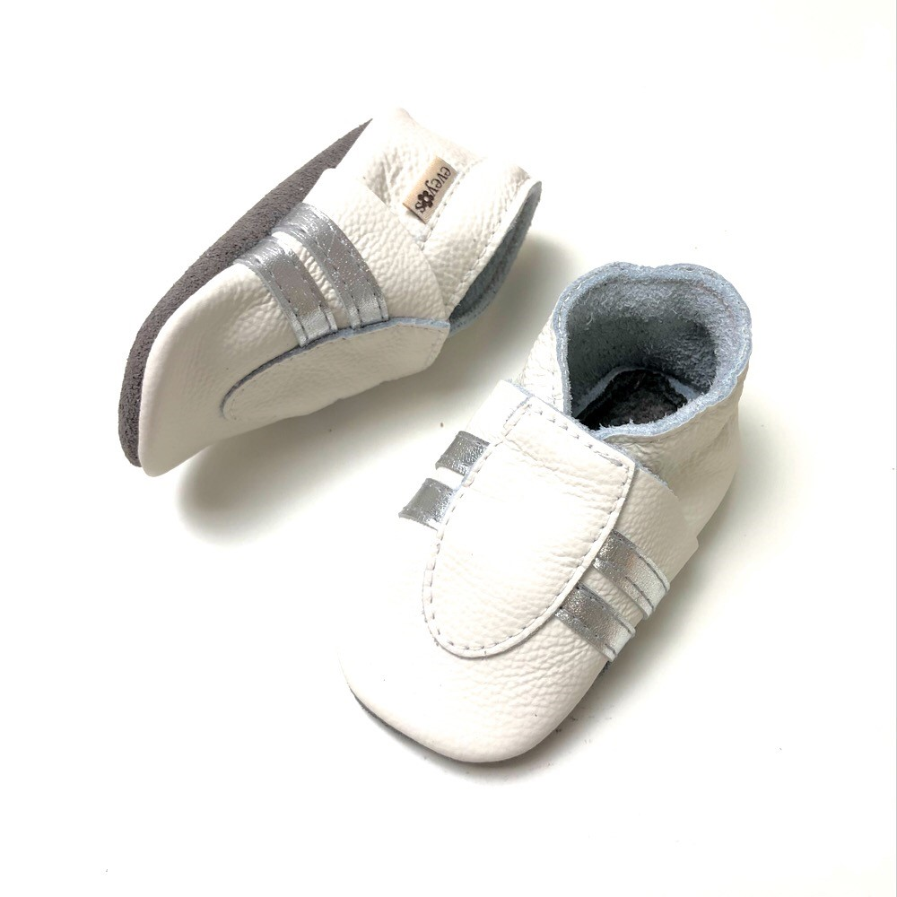 Krabbelschuhe Sneaker Basic Weiss/Silber 1