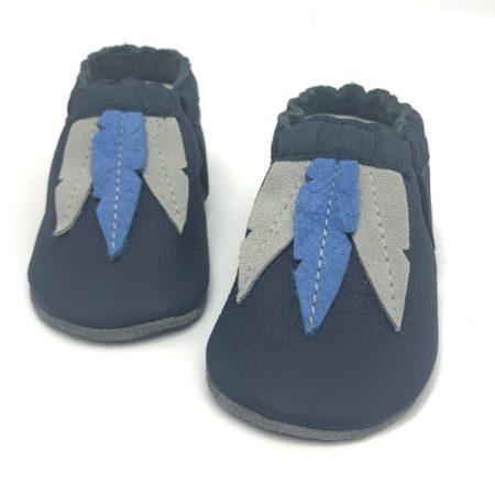 Moccasins Feder blau/grau auf dkl.Blau