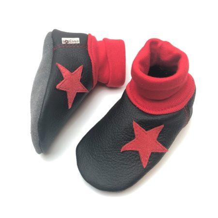 Lederstrumpf Schwarz / Rot Stern
