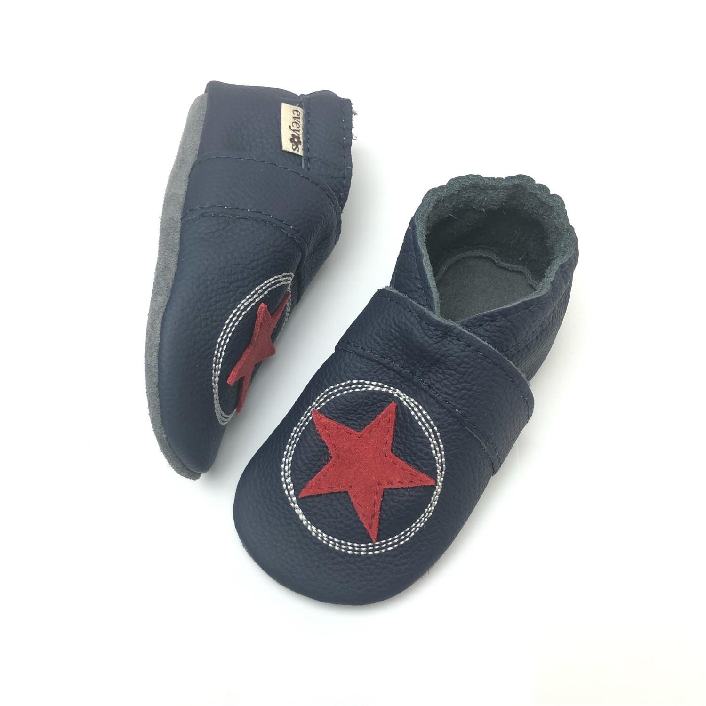 sneakers for cheap 8a5fe ed7d6 Krabbelschuhe Kritzelkreis in dunkel Blau-Rot (mit Namen optional)