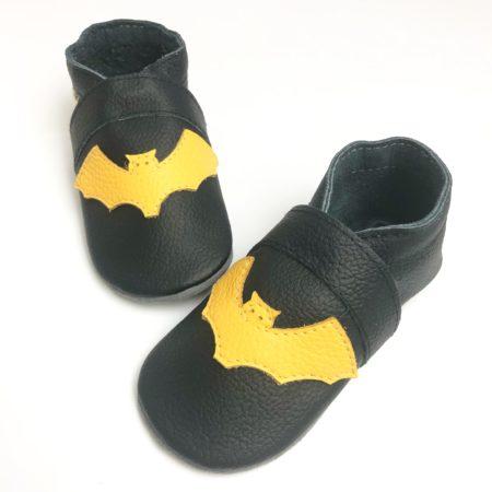 Krabbelschuhe Fledermaus Gelb - Schwarz Batman