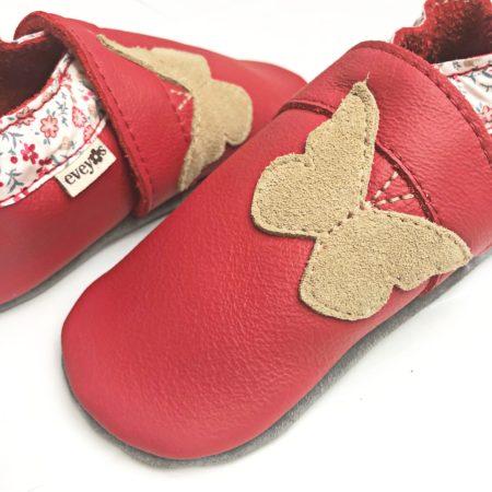 Krabbelschuhe Rot - Schmetterling beige