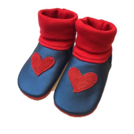Lederstrumpf Metallic Blau mit roten Herzen