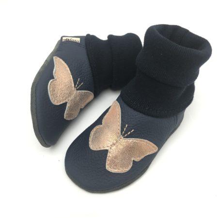 Krabbelschuhe mit Schmetterling | LEDERSTRUMPF | dunkel Blau - Roségold | Goldrosé | auch mit Namen möglich