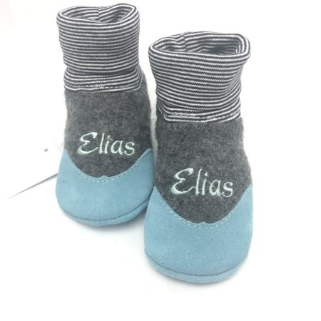 WOLLWALK Strumpf Grau mit Veloursledersohle in hell Blau