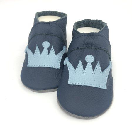 Krabbelschuhe Krone dunkel Blau | hell Blau