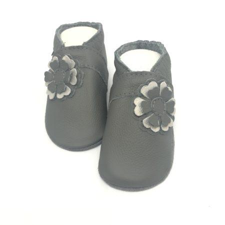 Krabbelschuhe 3D Blume in Grau/Champagner Glitzer