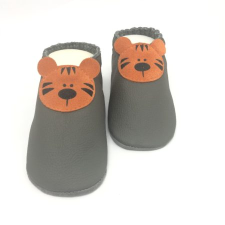 Krabbelschuhe Tiger Grau/ Orange